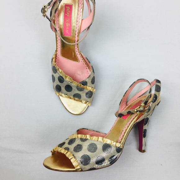 Betsey Johnson Shoes - Betsey Johnson Polka Dot Gold Heels